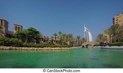 Artificial pond near Jumeirah Al Qasr hotel. UAE. UltraHD 4k video