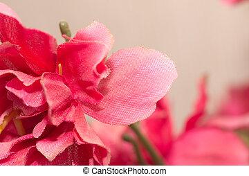 artificial red flower. macro