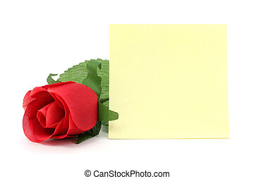red rose and notepaper - artificial red rose and notepaper, ...
