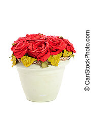 Artificial Red Rose Flowers in Pot Isolated on White Background