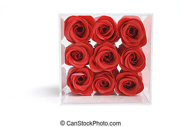 Artificial Red Roses in Plastic Box