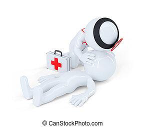 artificial, respiration., primeros auxilios, ayuda, concepto