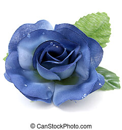 Artificial Rose - Blue fabric or craft rose over white with...
