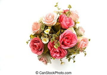artificial roses flower isolated on white background