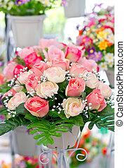 Artificial Roses in Pot.