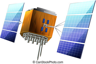Artificial Satellite - Illustration showing the artificial...