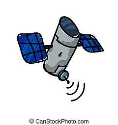 artificial satellite orbiting icon vector illustration...