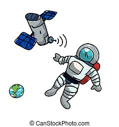 artificial satellite orbiting with astronaut and earth...