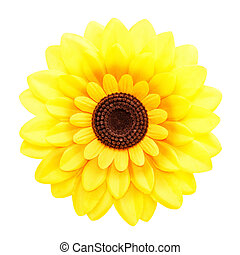 artificial sunflower on white background
