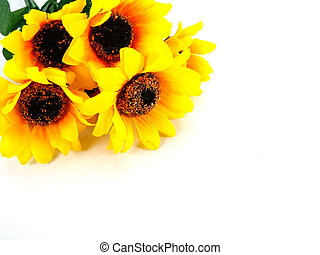 artificial sunflowers on white