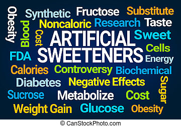 Artificial Sweeteners Word Cloud on Blue Background