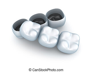 Artificial tooth crowns.