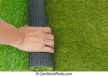 Artificial turf green grass roll with hand