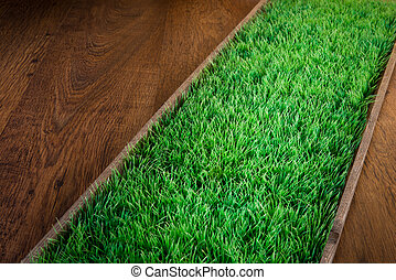 Artificial turf on hardwood floor - Artificial grass on...