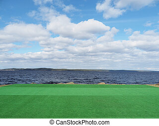 artificial turf on the lake