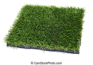artificial turf tile on a white background