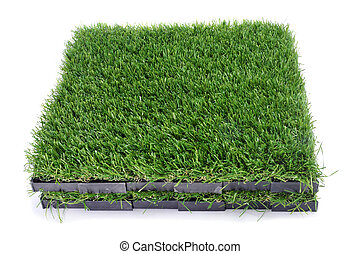 artificial turf - some tiles of artificial turf on a white...