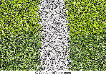 Artificial turf with white marking line