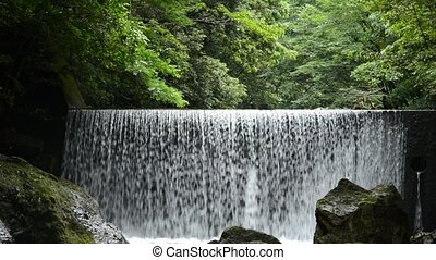 Artificial waterfall from levee in front of green forest
