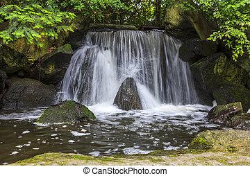artificial waterfall in japanese garden called otoko-daki.