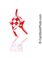 artificial whit and red ketupat
