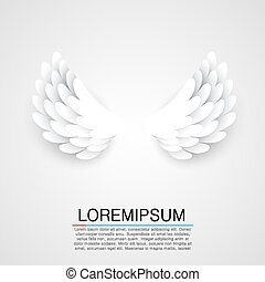 Artificial white paper wings background. Vector illustration