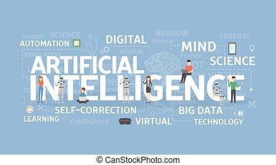 artificiale, concept., intelligenza