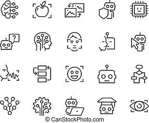 artificiale, linea, intelligenza, icone