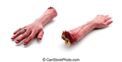 artificiale, sanguinante, braccia, umano, due