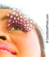 artificiel, cils, beauté, spectacles, cil, closeup, girl