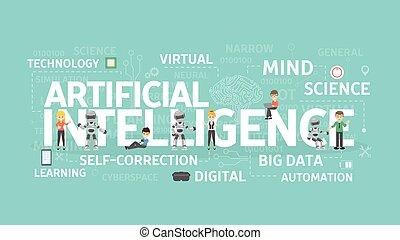 artificiel, concept., intelligence
