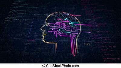 artificiel, futuriste, croquis, intelligence