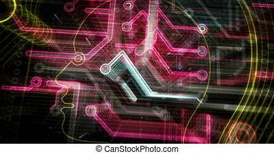 artificiel, futuriste, intelligence, animation