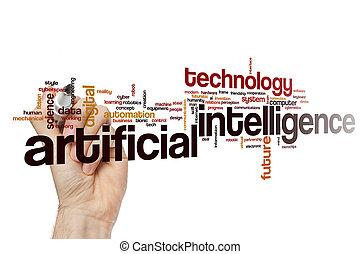 artificiel, nuage, intelligence, mot