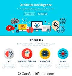 artificiel, site web, conception, intelligence