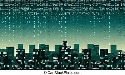 artificiel, stockage, couler, internet, connecté, données, ville, intelligent, nuage, technologie, réseau, -, ruisseau, numérique, choses, grand, intelligence, résumé, futuriste, binaire, concept, données