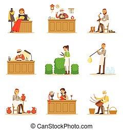 Appartamento set items illustrazione vettore for Piani scrivania stile artigiano