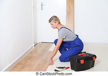 artigiano, closeup, stanza, pavimentazione, installare