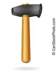 artiglio, hammer., martello, con, il, manico legno