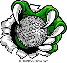 artiglio, mostro, sport, mano, palla golf
