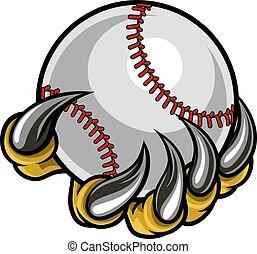 artiglio, mostro, tenere baseball, palla