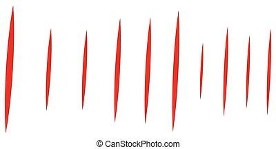 artiglio, verticale, lines., mark., rosso, fenditura, dinamico, incisione, scratches., riga di arresto, striscie, lacrima