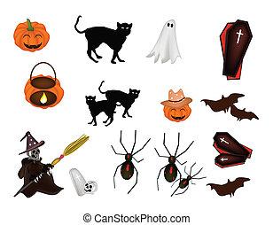 artikel, set, halloween, gevarieerd, illustratie