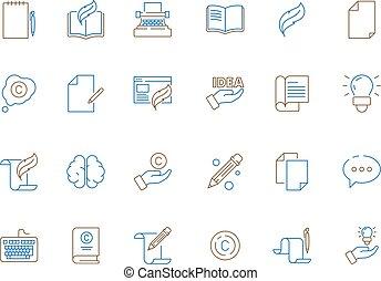 artikelen, gekleurde, schrijvers, veer, symbolen, pen,...