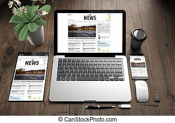 artikelen & hulpmiddelen, op, houtenvloer, nieuws