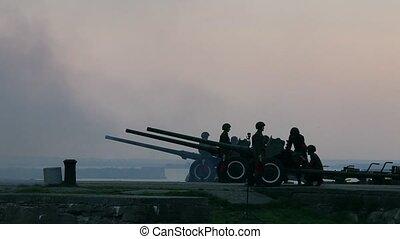 artillery battery - HD1080: artillery battery Time lapse...