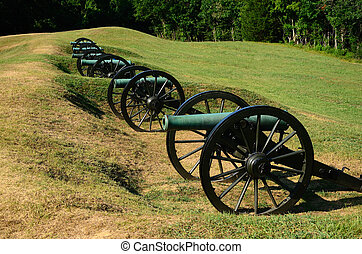 Artillery Battery - Cannons are displayed on the Vicksburg...