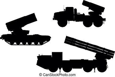 Artillery - Multiple launch rocket system (MLRS) vector...