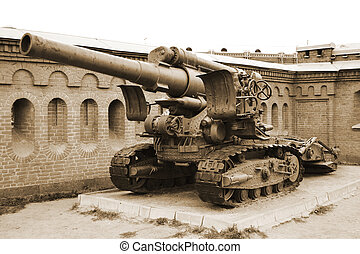 Artillery gun. Sepia. - Old gun in artillery museum,...
