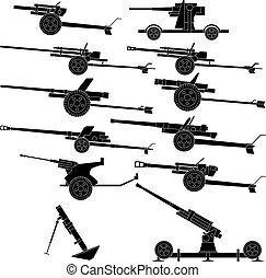 Artillery - Layered vector illustration of various artillery...